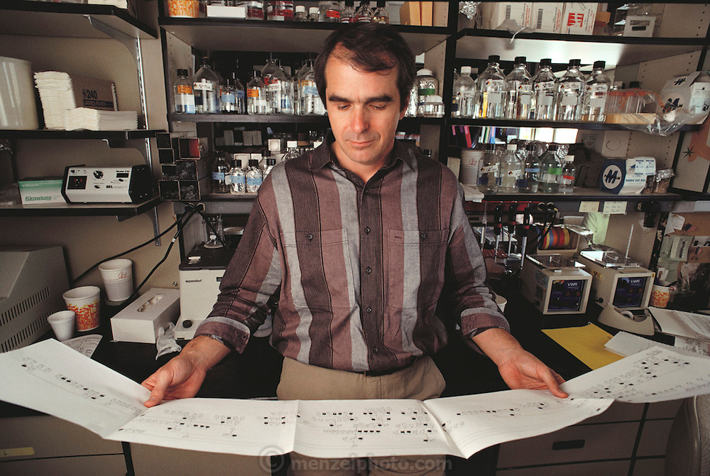 "(1992) Ray White in his lab at the Howard Hughes Medical Institute, with the genetic map of his family used in his ""linkage strategy"". DNA Fingerprinting. MODEL RELEASED"