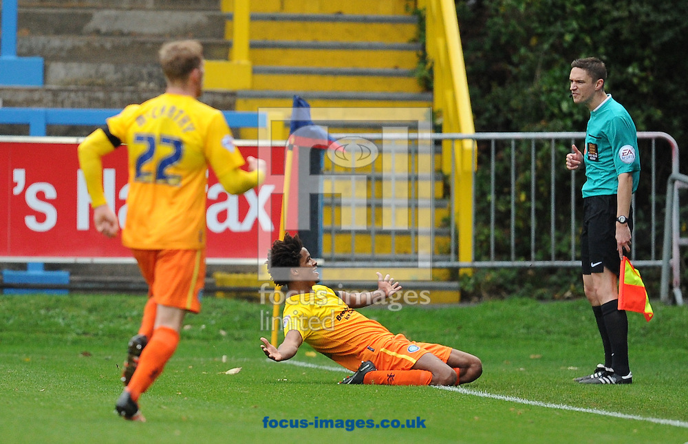 Sido Jambati of Wycombe Wanderers celebrates scoring to make it 2-0 during the FA Cup match at Shay Stadium, Halifax<br /> Picture by Richard Land/Focus Images Ltd +44 7713 507003<br /> 08/11/2015