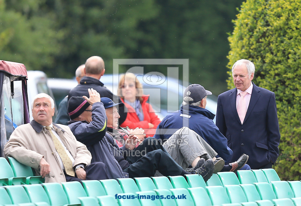 Nick Owens discussing the cricket with a spectator during the LV County Championship Div Two match at New Road, Worcester<br /> Picture by Michael Whitefoot/Focus Images Ltd 07969 898192<br /> 28/04/2014