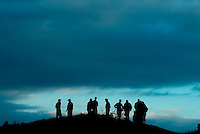 A group of players including Tiger Woods, fourth from left stand at hole one at day two of practices of the PGA championship at Whistling Straits Tuesday Aug. 10, 2004 Haven Wi.     Photo Darren Hauck..................................