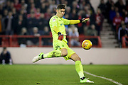 Nottingham Forest goalkeeper Costel Pantilimon (1) clears the ball during the EFL Sky Bet Championship match between Nottingham Forest and Derby County at the City Ground, Nottingham, England on 25 February 2019.