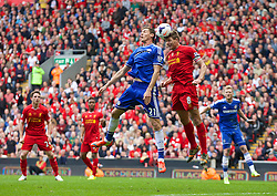 27.04.2014, Anfield, Liverpool, ENG, Premier League, FC Liverpool vs FC Chelsea, 36. Runde, im Bild Liverpool's captain Steven Gerrard in action against Chelsea's Nemanja Matic // during the English Premier League 36th round match between Liverpool FC and Chelsea FC at Anfield in Liverpool, Great Britain on 2014/04/27. EXPA Pictures &copy; 2014, PhotoCredit: EXPA/ Propagandaphoto/ David Rawcliffe<br /> <br /> *****ATTENTION - OUT of ENG, GBR*****