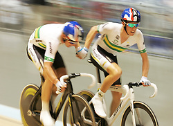 (Melbourne, Australia---08 April 2012) The Australian team makes a pass during the Madison at the 2012 UCI Track Cycling World Championships.Copyright 2012 Sean Burges / Mundo Sport Images.