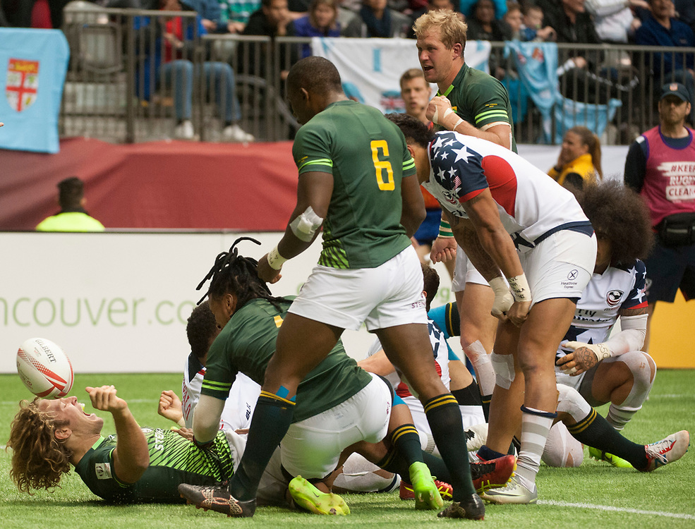 South Africa celebrate after beating the United States to reach the Cup Final  during the knockout stages of the Canada Sevens,  Round Six of the World Rugby HSBC Sevens Series in Vancouver, British Columbia, Sunday March 12, 2017. <br /> <br /> Jack Megaw.<br /> <br /> www.jackmegaw.com<br /> <br /> jack@jackmegaw.com<br /> @jackmegawphoto<br /> [US] +1 610.764.3094<br /> [UK] +44 07481 764811