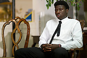 Karsiah Duncan, the son of Ebola patient Thomas Eric Duncan, looks on during a press conference at at Wilshire Baptist Church on October 7, 2014, in Dallas. (Cooper Neill for The New York Times)