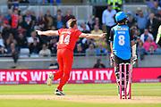 Wicket - James Faulkner of Lancashire celebrates taking the wicket of Joe Clarke of Worcestershire during the Vitality T20 Finals Day Semi Final 2018 match between Worcestershire Rapids and Lancashire Lightning at Edgbaston, Birmingham, United Kingdom on 15 September 2018.