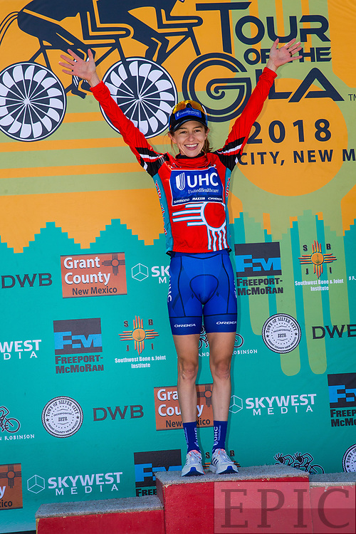 SILVERY CITY, NM - APRIL 20: Katharine Hall (UnitedHealthcare Pro Cycling Team) retains the leaders jersey after stage 3 of the Tour of The Gila on April 20, 2018 in Silver City, New Mexico. (Photo by Jonathan Devich/Epicimages.us)