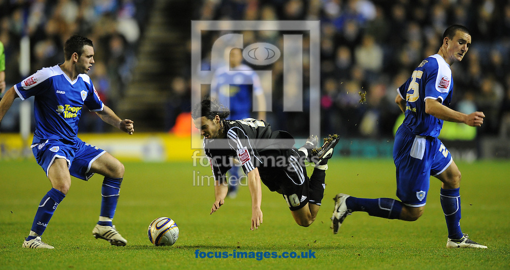 Leicester - Saturday December 22th, 2008: Bruno Berner & Jack Hobbs of Leicester City and George Boyd of Peterborough United in action during the Coca Cola League One match at The Walkers Stadium, Leciester. (Pic by Alex Broadway/Focus Images)