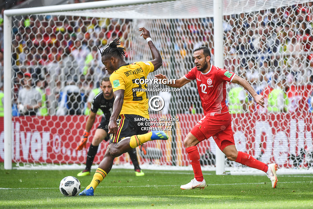 Michy Batshuayi of Belgium and Ali Maaloul of Tunisia during the FIFA World Cup Group G match between Belgium and Tunisia at Spartak Stadium on June 23, 2018 in Moscow, Russia. (Photo by Anthony Dibon/Icon Sport)