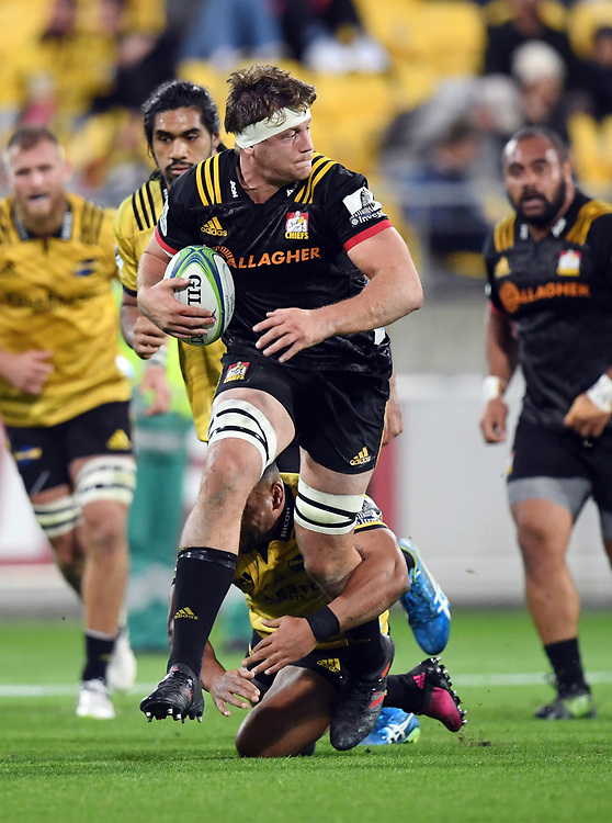 Chiefs Michael Allardice against the Hurricanes in the Super Rugby match at Westpac Stadium, Napier, New Zealand, Friday, April 13, 2018. Credit:SNPA / Ross Setford