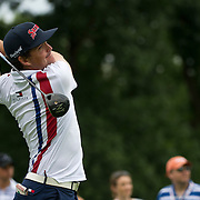 August 23, 2014:  Keegan Bradley (USA) tee's off at the 12th hole during the second round of The Barclays Fed Ex  Championship at Ridgewood Country Club in Paramus, NJ. Mandatory Credit:  Kostas Lymperopoulos/csm  (Credit Image: © Kostas Lymperopoulos/Cal Sport Media)