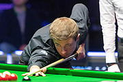 Jack Lisowski takes the 1st frame of the afternoon of  the World Snooker 19.com Scottish  Open Final Mark Selby vs Jack Lisowski at the Emirates Arena, Glasgow, Scotland on 15 December 2019.
