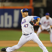 Pitcher Hansel Robles, New York Mets, pitching in the eigth inning during the New York Mets Vs Washington Nationals. MLB regular season baseball game at Citi Field, Queens, New York. USA. 1st August 2015. (Tim Clayton for New York Daily News)