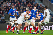 Twickenham, United Kingdom. 7th February, Billy VUNIPOLA, gathered in By france's Guilhem GUIRADO,  England vs France, 2019 Guinness Six Nations Rugby Match   played at  the  RFU Stadium, Twickenham, England, <br /> &copy; PeterSPURRIER: Intersport Images