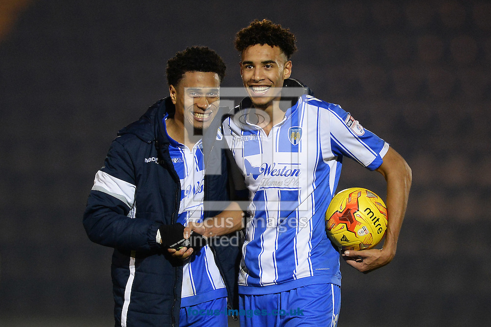 Kurtis Guthrie of Colchester United (right) celebrates with the matchball after scoring a hat-trick with Richard Brindley of Colchester United during the Sky Bet League 2 match between Colchester United and Carlisle United at the Weston Homes Community Stadium, Colchester<br /> Picture by Richard Blaxall/Focus Images Ltd +44 7853 364624<br /> 07/01/2017