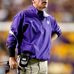 Oct 26, 2013; Baton Rouge, LA, USA; Furman Paladins head coach Bruce Fowler against the LSU Tigers during the first half of a game at Tiger Stadium. Mandatory Credit: Derick E. Hingle-USA TODAY Sports