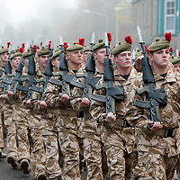 The Black Watch Homecoming Parade, Aberfeldy....10.12.09<br /> The soldiers of the Black Watch as they parade through a foggy Aberfeldy on their return from Afghanistan.......Aberfeldy is where the 'Companies' of men were mustered in 1667, the dark tartans that the men wore to distinguish them from the 'Red Soldiers' led them to becoming known as 'Freiceadan Dubh' or 'The Black Watch'<br /> Picture by Graeme Hart.<br /> Copyright Perthshire Picture Agency<br /> Tel: 01738 623350  Mobile: 07990 594431