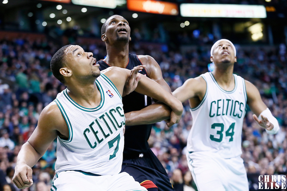 27 January 2013: Boston Celtics power forward Jared Sullinger (7) vies for the rebound with Miami Heat center Chris Bosh (1) during the Boston Celtics 100-98  2OT victory over the Miami Heat at the TD Garden, Boston, Massachusetts, USA.