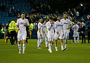 Disappointed Leeds players at full time during the EFL Sky Bet Championship match between Sheffield Wednesday and Leeds United at Hillsborough, Sheffield, England on 28 September 2018.