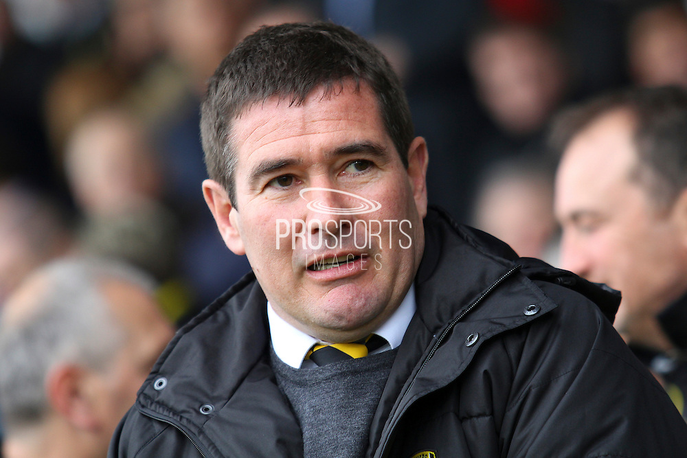 Burton Albion manager Nigel Clough during the Sky Bet League 1 match between Burton Albion and Oldham Athletic at the Pirelli Stadium, Burton upon Trent, England on 26 March 2016. Photo by Aaron Lupton.