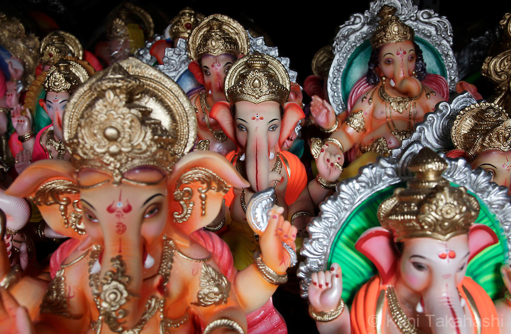 Idols of Lord Ganesh are displayed at workshop in Mumbai, India on Sep 9, 2010 as preparation of the Ganpati festival which starts on Sep 11. The 10-day-long Hindu festival, celebrating the birthday of Lord Ganesha who is widely worshiped as the god of wisdom, prosperity and good fortune, attracts tens of thousands people every year..Photo by Kuni Takahashi