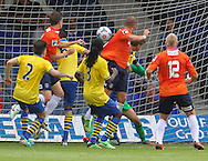 Picture by David Horn/Focus Images Ltd +44 7545 970036<br /> 03/08/2013<br /> Jake Howells of Luton Town scores his side's fourth goal to make it 4-0 during the Friendly match at Kenilworth Road, Luton.