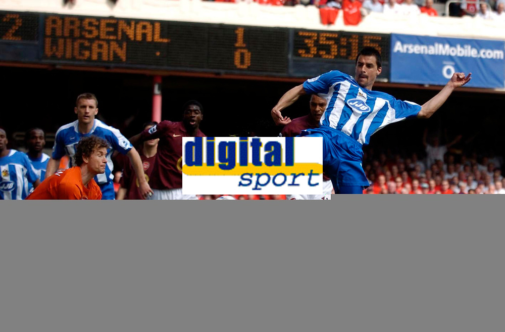 Photo: Daniel Hambury.<br />Arsenal v Wigan Athletic. The Barclays Premiership. 07/05/2006.<br />Wigan's Paul Scharner scores.0-1.
