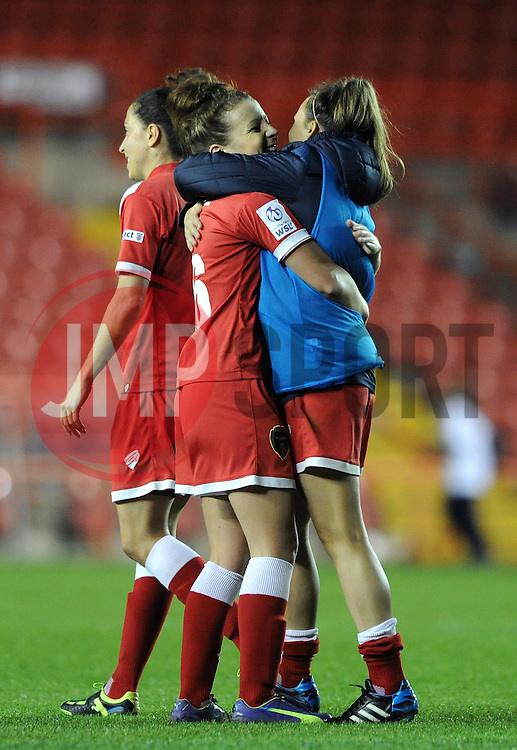 Bristol Academy Womens' Angharad James celebrates with Bristol Academy Womens' Georgia Evans - Photo mandatory by-line: Dougie Allward/JMP - Mobile: 07966 386802 - 16/10/2014 - SPORT - Football - Bristol - Ashton Gate - Bristol Academy v Raheny United - Women's Champions League