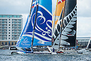 The Wave Muscat and Emirates Team New Zealand, day two of the Cardiff Extreme Sailing Series Regatta. 23/8/2014