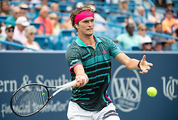 August 15,2018: Alexander Zverev (GER) loses to Robin Haase (NED) 5-7, 6-4, 7-5, at the Western & Southern Open being played at Lindner Family Tennis Center in Mason, Ohio. ©Leslie Billman/Tennisclix/(Photo by Leslie Billman/CSM/Sipa USA)