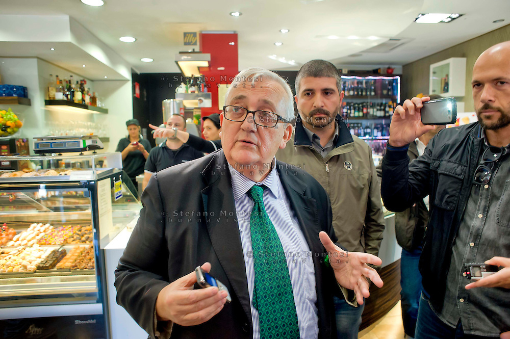 Roma 14 Novembre 2014<br /> Mario Borghezio, europarlamentare della Lega Nord, in visita a Tor Sapienza in seguito alle proteste degli abitanti  contro il centro di accoglienza per rifugiati di Via Giorgio Morandi. Borghezio non &egrave; andato, per&ograve;, al centro ma ha incontrato la  stampa in un bar distante dal centro di accoglienza.<br /> Rome November 14, 2014<br /> Mario Borghezio, MEP of the Lega Nord, on a visit to Tor Sapienza following the protests of the people against the reception center for refugees to Via Giorgio Morandi. Borghezio did not go, however, in the center but faced the media at a bar far from the reception center for refugees.