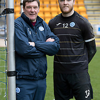 St Johnstone Manager Tommy Wright pictured with Zander Clark at McDiarmid Park after the keeper extended his contract with the club.<br />Picture by Graeme Hart.<br />Copyright Perthshire Picture Agency<br />Tel: 01738 623350  Mobile: 07990 594431