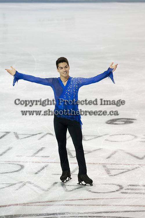 KELOWNA, BC - OCTOBER 26: American figure skater Camden Pulkinen competes during the men's long program / free skate of Skate Canada International held at Prospera Place on October 26, 2019 in Kelowna, Canada. (Photo by Marissa Baecker/Shoot the Breeze)