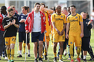 Newport players on their lap of honour after the match. Skybet football league two match, Newport county v Rochdale at Rodney Parade in Newport, South Wales on Saturday 3rd May 2014.<br /> pic by Mark Hawkins, Andrew Orchard sports photography.