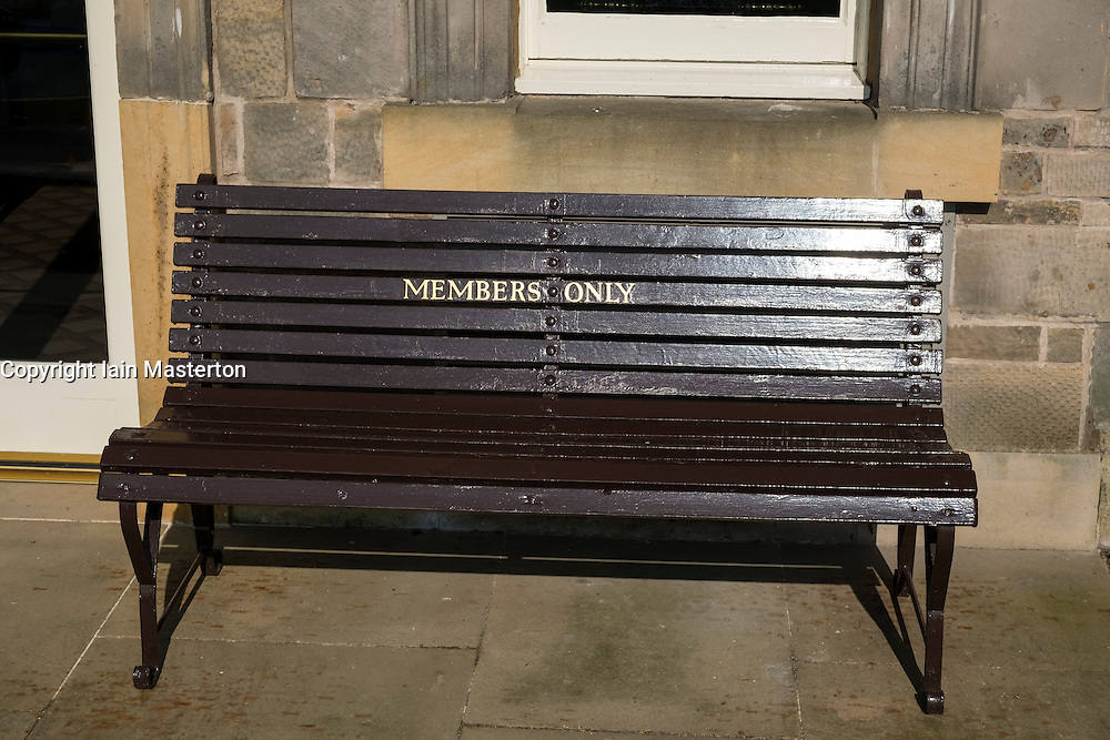Bench for Members Only at Royal and Ancient Clubhouse at Old Course St Andrews golf course in Fife Scotland United kingdom