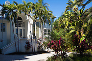Luxury, stylish, winter home surrounded by palm trees on Captiva Island in Florida, USA