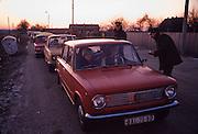 December 11, 1989. Czechoslovakia. Slovaks crossing the border to Austria at provisorial checkpoints. (Photo Heimo Aga)