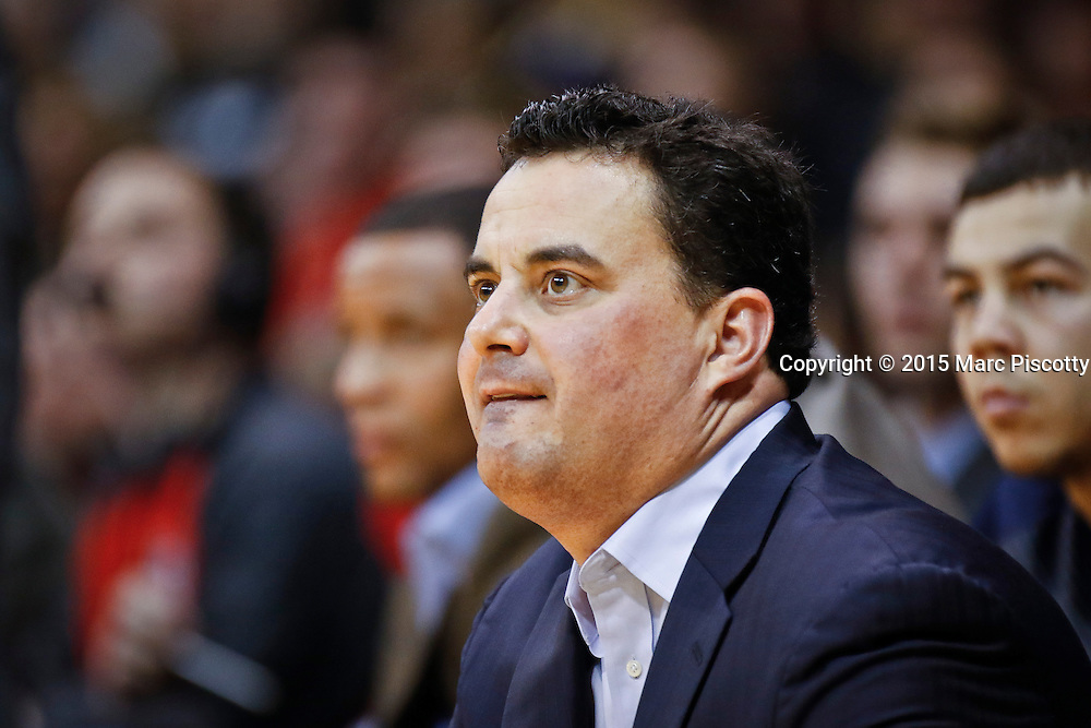 SHOT 2/26/15 9:15:06 PM - Arizona head basketball coach Sean Miller watches his team play against Colorado during their regular season Pac-12 basketball game at the Coors Events Center in Boulder, Co. Arizona won the game 82-54.<br /> (Photo by Marc Piscotty / &copy; 2015)
