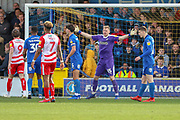 AFC Wimbledon goalkeeper Aaron Ramsdale (35) with arms open during the EFL Sky Bet League 1 match between AFC Wimbledon and Doncaster Rovers at the Cherry Red Records Stadium, Kingston, England on 9 March 2019.