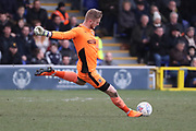 AFC Wimbledon goalkeeper George Long (1) clearing ball during the EFL Sky Bet League 1 match between AFC Wimbledon and Oxford United at the Cherry Red Records Stadium, Kingston, England on 10 March 2018. Picture by Matthew Redman.