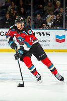 KELOWNA, BC - NOVEMBER 8:  Alex Swetlikoff #17 of the Kelowna Rockets skates with the puck against the Medicine Hat Tigers at Prospera Place on November 8, 2019 in Kelowna, Canada. (Photo by Marissa Baecker/Shoot the Breeze)