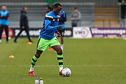 Forest Green Rovers Isaiah Osbourne(34) warming up during the EFL Sky Bet League 2 match between Barnet and Forest Green Rovers at The Hive Stadium, London, England on 7 April 2018. Picture by Shane Healey.