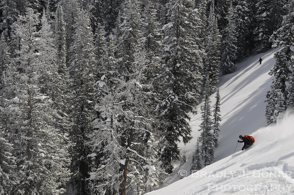 John Griber skiing on the south side of Teton Pass