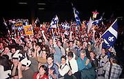 Rassemblement du &laquo; oui &raquo; au Métropolis lors de la soirée électorale.<br /> Les premiers résultats favorisent le OUI