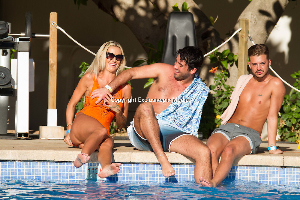 Exclusive - Big Brother stars Charlie Doherty with fellow house mates  Hughie Maughan and Ryan Ruckledge in Magaluf<br />