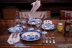 Placing setting in the dining room, Casa Grande, Hearst Castle, San Simeon, California, United States of America