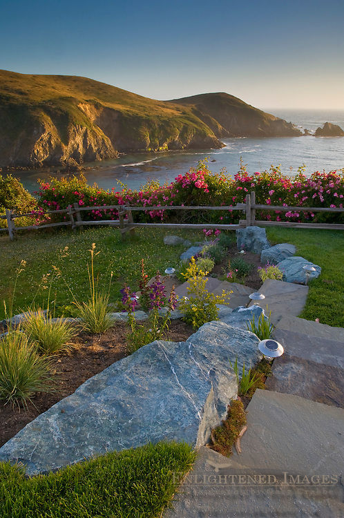 Lawn and garden over looking the ocean at sunset, Albion River Inn, Albion, Mendocino County, California
