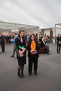 DIRECTOR OF FRIEZE MASTERS VICTORIA SIDDALL,; AMANDA SHARP, Opening of Frieze Masters. Regent's Park. London. 15 October 2013.