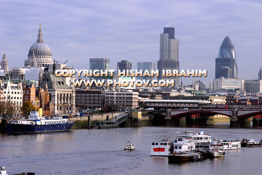 London Skyline and Thames River, London, UK