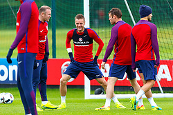 © Licensed to London News Pictures. 01/06/2016. London, UK. England's WAYNE ROONEY, JAMES VARDY and JAMES MILNER training with England team at Watford Training Ground on Wednesday, 1 June 2016, ahead of the Euro 2016 in France. Photo credit: Tolga Akmen/LNP